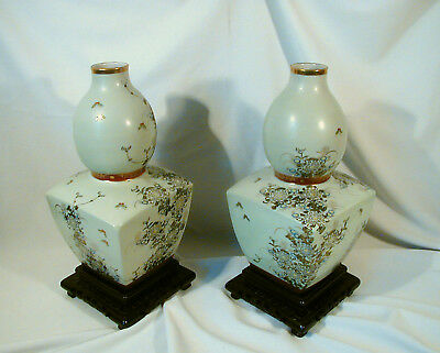 Stunning Pair Of Old Asian Japanese Celedon Satsuma(?) Vases Drilled For Lamps