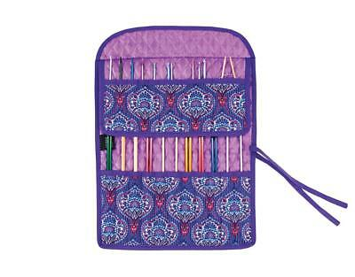 Combination Roll Up Knitting Needle Case ~ Purple Tapestry ~ Empty