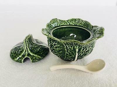 Beautiful Olfaire Portugal Pottery Green Cabbage Majolica Tureen Ladle MINT #16