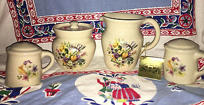 YESTERYEARS POTTERY HAND TURNED Sugar Bowl Creamer Salt & Pepper Shakers set NWT