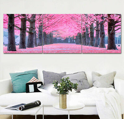 "Canvas Painting Print Home Decor Wall Art Garden Scenic Flower Tree 16x16""x3pc"