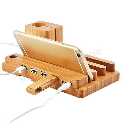4 Ports USB Charging Dock Station Charger Holder Stand For iWatch iPhone