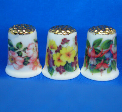 Fine Porcelain China Thimbles - Set Of Three  Hedgerow Flowers Gold Top