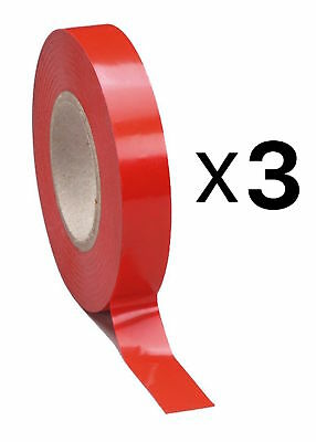 Tourna Tennis Racquet Racket Vinyl Extra Finishing Grip Tape Red Finish (3-Pack)