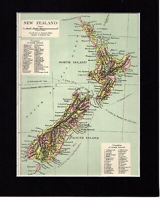 """Map ~ NEW ZEALAND North & South Island MOUNTED Ready to Frame ~ c1890 10"""" x 8"""""""