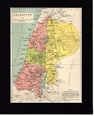 """Map ~ PALESTINE Palestinian MIDDLE EAST Mounted Ready to Frame ~ c1890 10"""" x 8"""""""
