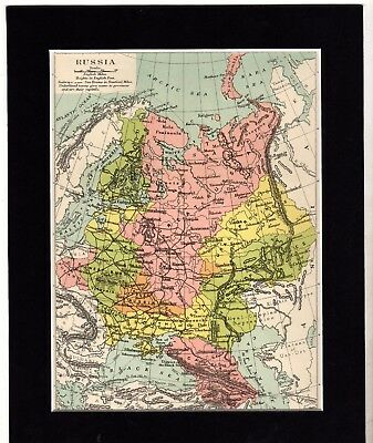 """Map ~ RUSSIA RUSSIAN Mounted Ready to Frame ~ c1890 10"""" x 8"""""""
