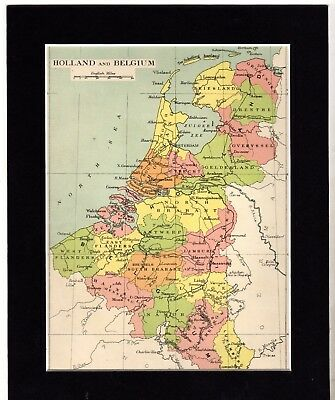 """Map ~ HOLLAND & BELGIUM Mounted Ready to Frame ~ c1890 10"""" x 8"""""""