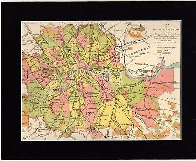 """Map ~ COUNTY OF LONDON in ENGLAND Mounted Ready to Frame ~ c1890 10"""" x 8"""""""