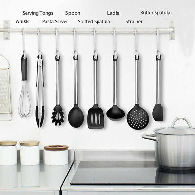 Kitchen Silicone Stainless Steel Cooking Utensils No stick Heat Resistant Lot US