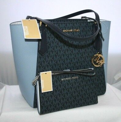 75d86ccfb92657 NEW MICHAEL KORS MK SIGNATURE Admiral Blue Leather Tote Bag or WALLET or SET