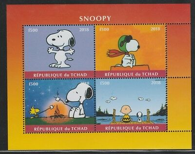 8007  CHAD - 2018 SNOOPY  perf sheet of 4 unmounted mint