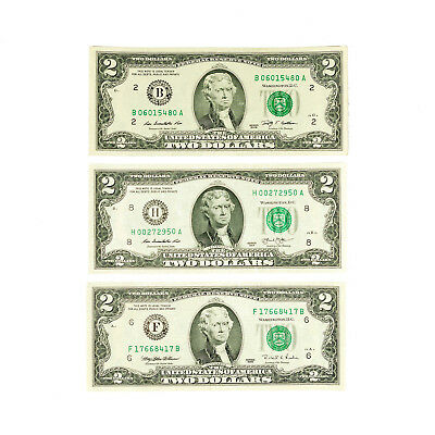 1 set of 3 diff. districts USA 2 Dollars H 2013, G 2009, F 2013 xf-Au
