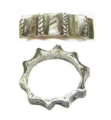 3rd - 4th century A.D. Ancient Roman Silver 'Utere Felix' Ribbed Finger Ring