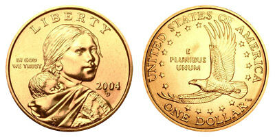 2004 D Native American Indian One Dollar Coin Sacagawea U.S. Mint Money Coins
