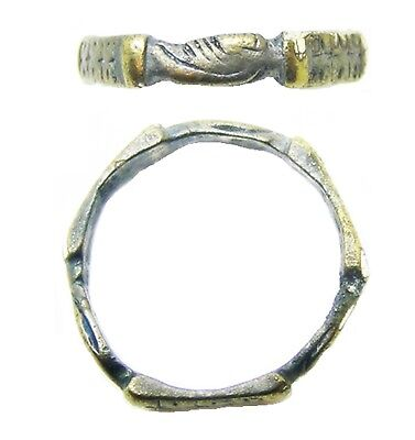 Nice 14th - 15th century Medieval Silver Fede Betrothal Ring Iconographic type