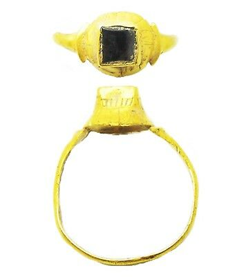 14th - 15th century Medieval Turreted Gold Rock Crystal Finger Ring Size 8 3/4