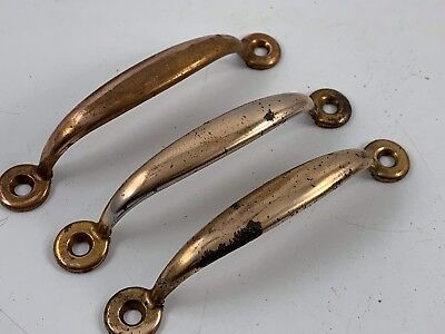 Set Of 3 Vintage Brass Tone Sash Lift Screen Door Drawer Cabinet Handles Or Pull