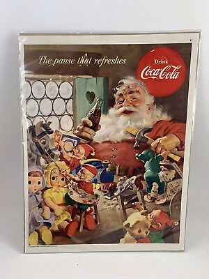 Vintage 1953 Magazine Print Advertising For Christmas Santa Claus & Coca=Cola