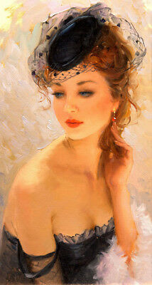Woman wearing a beautiful hat Oil Painting Giclee Art Printed on canvas L1984