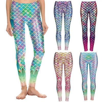 KQ_ Women Shiny Stretch Yoga Fish Scale Fin Print Fitness Mermaid Leggings Newly