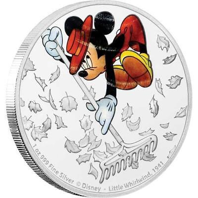 Niue Îles 2 Dollar Disney : Mickey - Whirlwind, 1 Once Argent, 1 Once, 2017