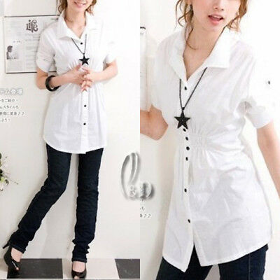 AU SELLER Womens Girls White Cotton Base Shirt Top Tee Short Sleeve Blouse T036