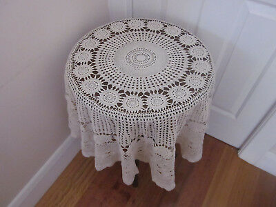 Vintage Cream Cotton Round Crochet Lace Tablecloth