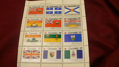 provincial territorial flags Canada 832a cancelled pane sheet upper left  P491