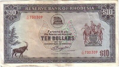 Rhodesia 10 Dollars Banknote 11-03-1976 Pick 37 EF Condition