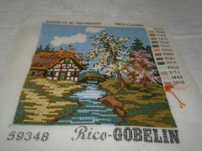 21 CM square WORKED COTTON PETIT POINT TAPESTRY - ENGLISH COUNTRY COTTAGE GARDEN