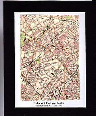 Antique MAP ~ HOLLOWAY & ENVIRONS London ~ 1921 Bartholomew MOUNTED Original