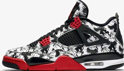 best service abda0 cc025 Nike Air Jordan 4 Retro SNGL DY Uk 9 BQ0897 006 Fire Red Black White TATTOO