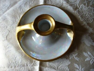 Vintage Bavaria iridescent Candlestick Holder Double Handle gold Hand painted