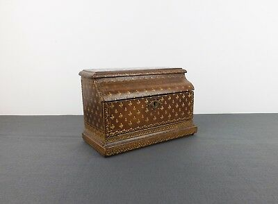 ANTIQUE FRENCH MID 19th C STATIONARY BOX MOROCCAN LEATHER BOUND  PAUL SORMANI ?