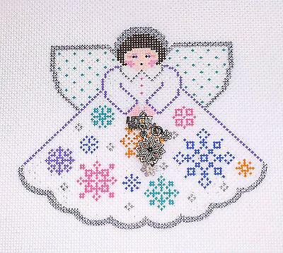 SP.ORDER ~ Winter Snowflakes Angel & Charms Needlepoint Ornament by Painted Pony