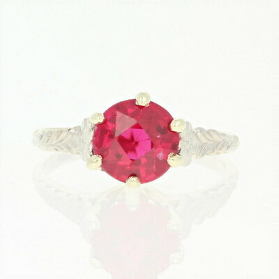Art Deco Synthetic Ruby Ring - 10k Gold Vintage Solitaire Round Brilliant 1.80ct