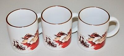 Set of 3 Santa Drinking Coca-Cola Coffee Mugs - Gold Rim, great litho