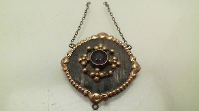 Antique 9Ct Gold Sterling Silver Amethyst Pendant