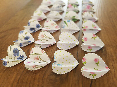 """24 x 1"""" Floral Scalloped Paper 3D Hearts Wedding/Crafts/Card/Tags/Scatters"""