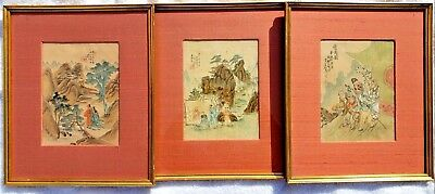 Set of (3) Antique Chinese Paintings on Silk