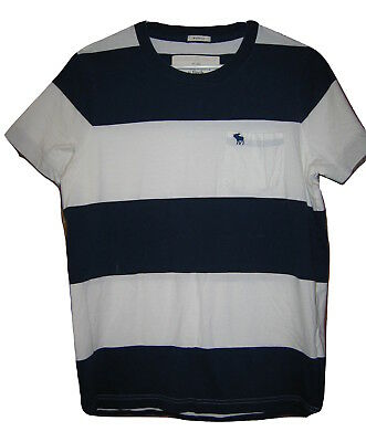 1c9fee29 Mens Abercrombie & Fitch T Shirt Moose Pocket Striped Muscle Blue S/S White  M
