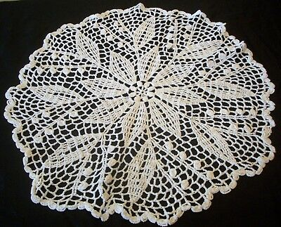 Centrepiece Doily White Hand Crochet Round Table Centre Vintage