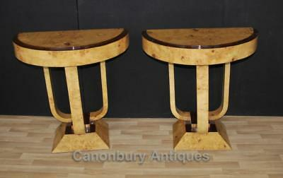 Pair Art Deco Console Tables Blonde Walnut Furniture