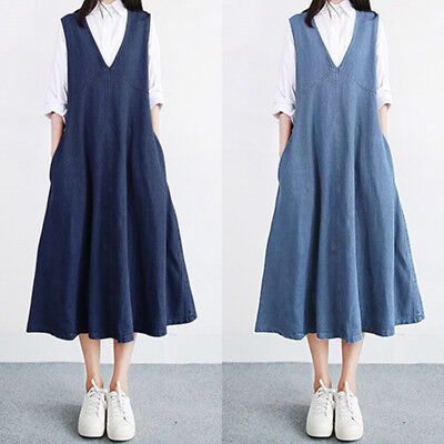 8e3af10325 UK 8-24 Women Vintage V Neck Sleeveless Denim Look Loose Skater Shirt Dress  Plus