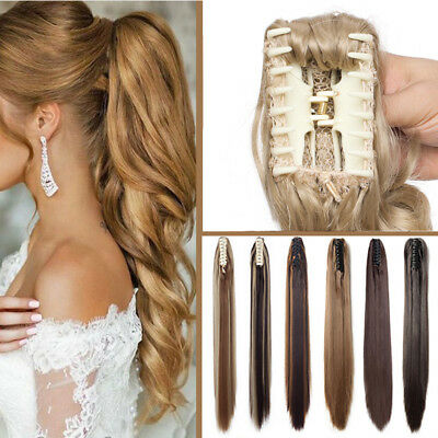 TOP Real Long Thick Claw Clip In Pony Tail Hair Extensions Ponytail As Human WR3