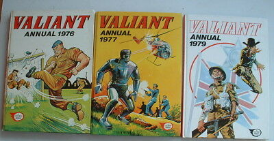3 x 1970s VALIANT BOOK FOR BOYS ANNUALS  Annuals for 1976 1977 and 1979 vgc