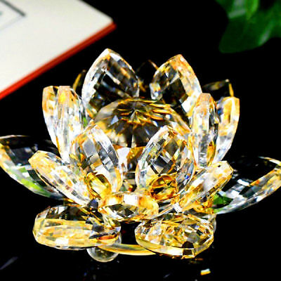 Large Gold/Yellow Crystal Lotus Flower Ornament With Gift Box  Crystocraft Fast