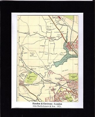 Antique MAP ~ HENDON & ENVIRONS London ~ 1921 Bartholomew MOUNTED Original