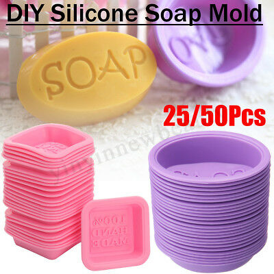 25/50Pcs DIY Handmade Silicone Soap Mold Square Oval Making Baking Cupcake Mould